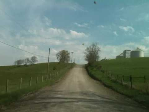 Driving through rural Ohio jefferson county USA back road farms country