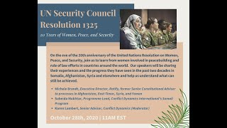 UN Security Council Resolution 1325: 20 Years of Women, Peace, and Security
