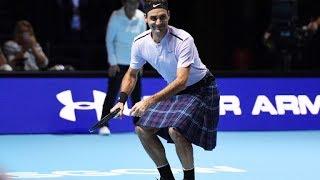Funny Roger Federer playing in a KILT [50fps, HD]