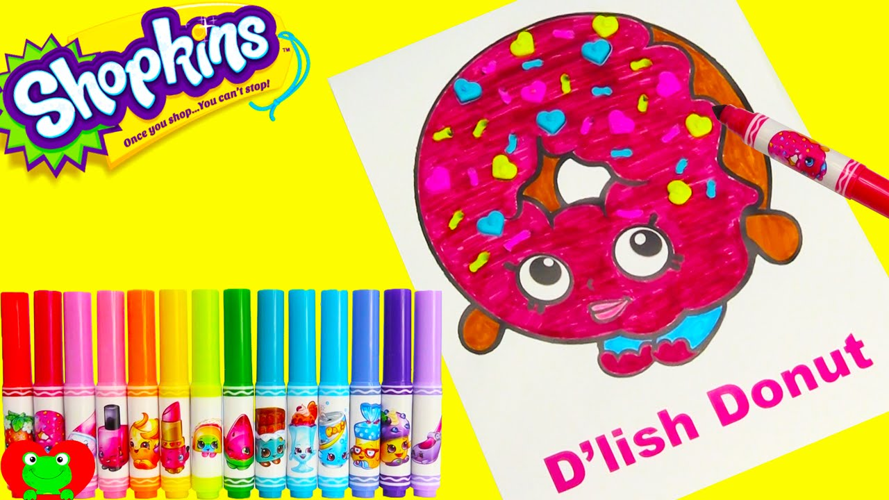 Shopkins D Lish Donut Crayola Marker Coloring Page With Surprises
