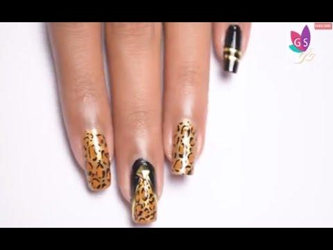 Tiger Print Nail Art Design Tutorials Diy Animal Printed Nail Art