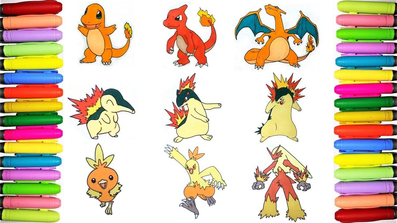 Fire Starters Pokemon coloring