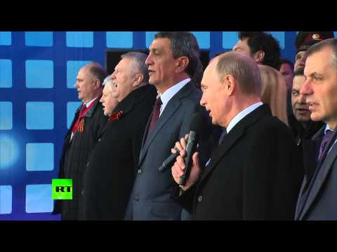 Putin sings national anthem at Red Square Crimea celebration