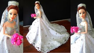 Barbie doll in Sparkling Christian Bridal Dress / Gown  | Barbie doll christian marriage