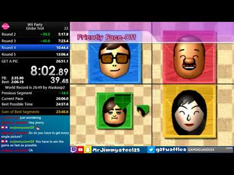 (Former World Record) Wii Party - Globe Trot Speedrun in 25: