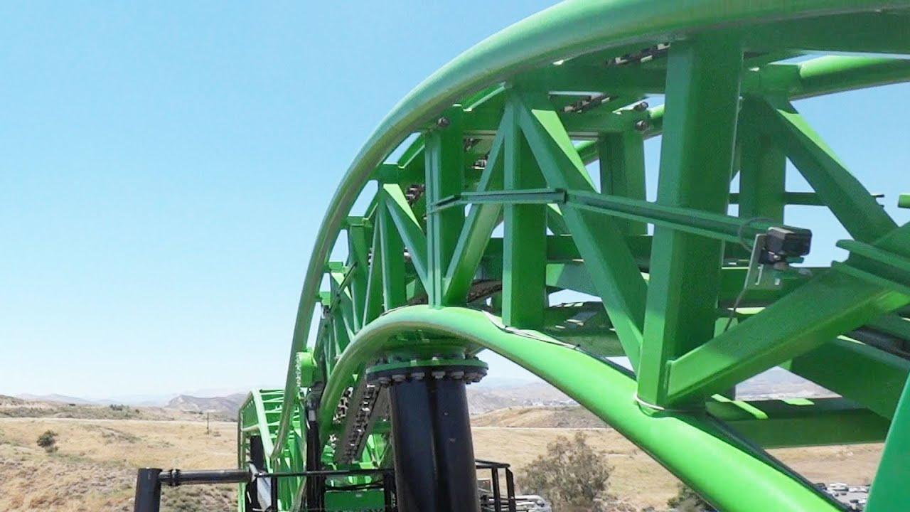 Video Of The Green Lantern Coaster Ride Movie World Youtube