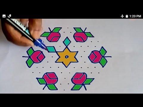 Flower/Rose Rangoli # Easy Kolam # Muggulu # 13-7 Dots # ಚುಕ್ಕಿ ರಂಗೋಲಿ  # Rangoli Competion Design