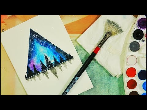 creative watercolor painting of a beautiful landscape by watercolor cakes
