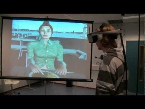 A virtual reality dialogue system for the treatment of social phobia
