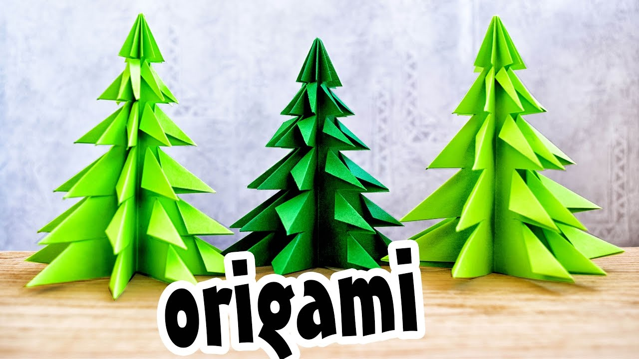 origami christmas tree made of paper without glue youtube - When Was Christmas Made