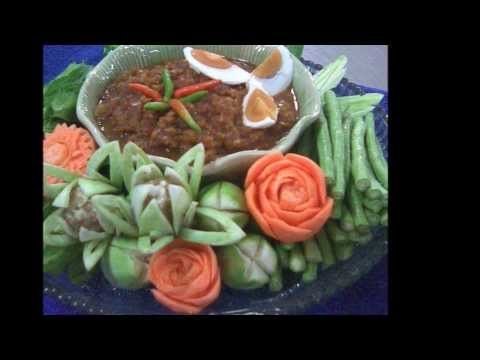 Beautiful Thai Food and Carved Vegetable Decorations