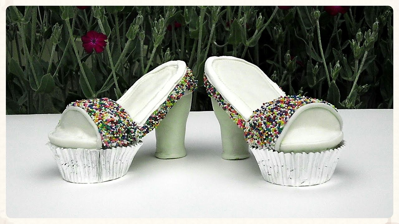 how to make a high heel cupcake shoe youtube. Black Bedroom Furniture Sets. Home Design Ideas