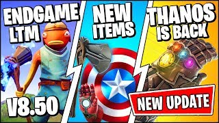 *NEW* Fortnite Update *RIGHT NOW* | AVENGERS ENDGAME THANOS TRAILER & REWARDS (Patch Notes v8.50)