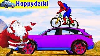Человек паук с другом катается на цветных машинках по горам, мультики