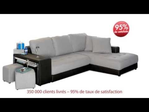 Canap d 39 angle convertible en tissu dorma ii youtube - Ikea canape convertible angle ...