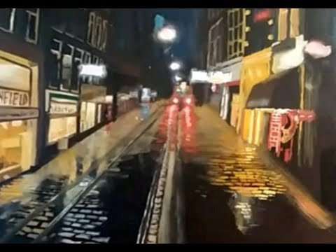 Urban Landscape oil painting at night Part 3