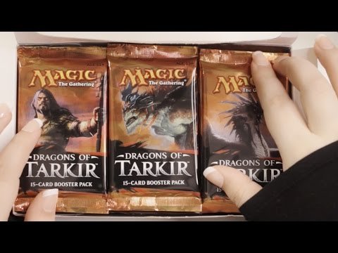Binaural ASMR: Opening 36 Magic The Gathering Booster Packs. Unboxing Tingles  In The Land Of Tarkir