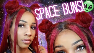 Space Bun Tutorial w/ a Lace Wig | DYHair777