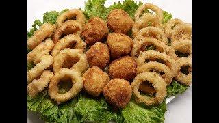Новогоднее меню. 3 закуски. Кольца кальмара, луковые кольца, картофельные шарики с сыром.