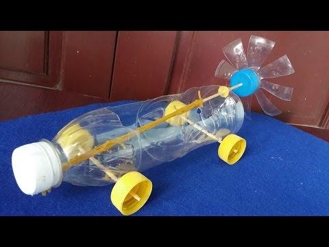 Cara membuat mobil karet bertenaga | menggunakan botol plastik