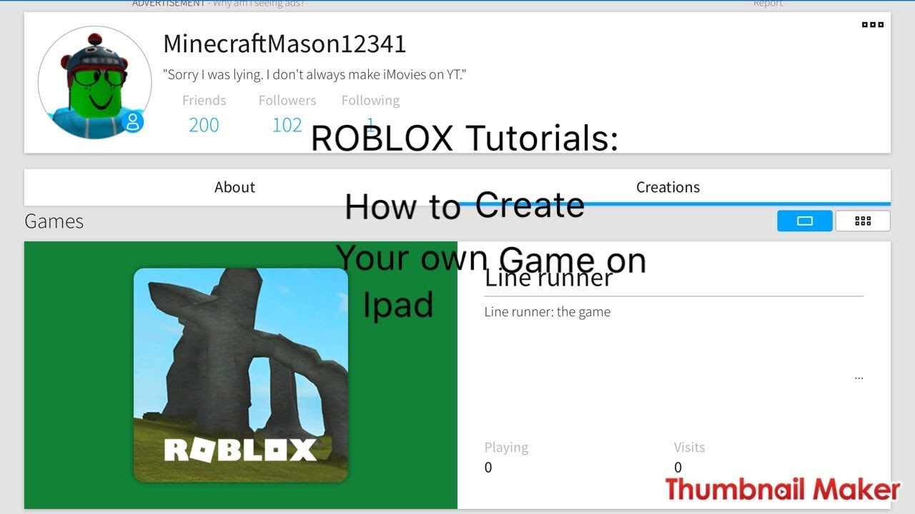 Roblox On Ios How To Create Your Own Game Youtube