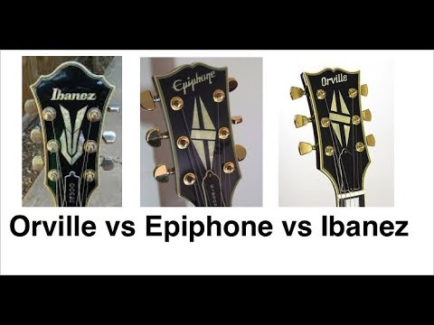 Epiphone  Les Paul Custom Japan vs Gibson Orville Les Paul Custom vs Ibanez PF300
