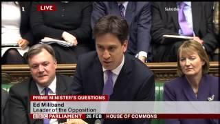 PMQs: Ed Miliband vs David Cameron (26 February 2014)