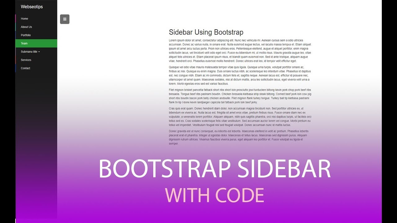 bootstrap sidebar menu with submenu with code