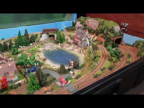 Model train z-scale layout in a suitcase