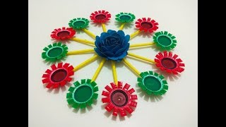 wall hanging craft idea |plastic bottle caps craft idea | best out of waste | Wall Decoration ideas