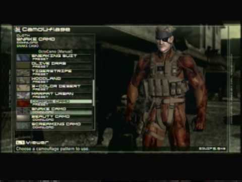 MGS4 - All weapons, items, camos, animal ranks. EVERYTHING! Part 1