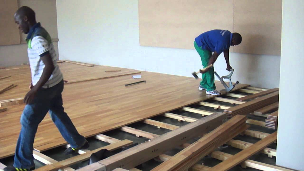A Suntups Wooden Floor Being Installed In Gym South Africa