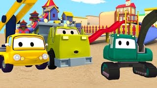 Construction Squad: the Dump Truck, the Crane and the Excavator build a Giant Slide in Car City