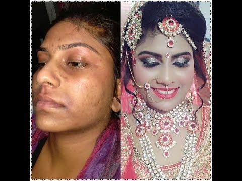 Real Indian  bridal makeup  makeup on uneven skin  silver glitter eye makeup   Hindi