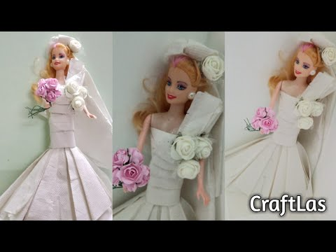 Barbie Diy Wedding Gown Making With Tissue Paper | CraftLas