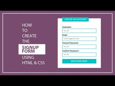 How To Create The Registration Form/Signup Form Using HTML And CSS - Signup Form - Registration Form
