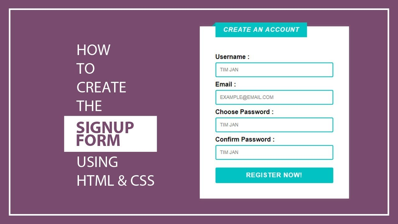 how to create student registration form with html code
