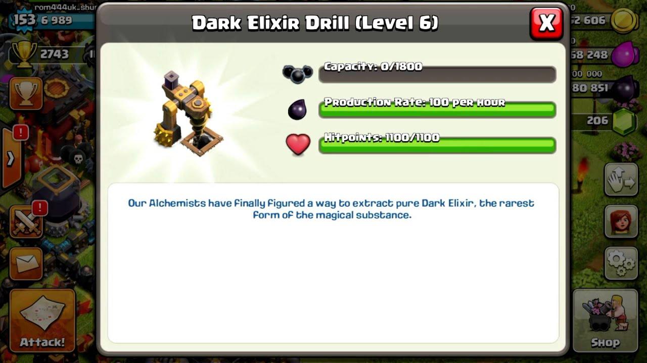 Dark elixir drill boost - Clash Of Clans Upgrade Dark Elixir Drill Level 6 Max Level