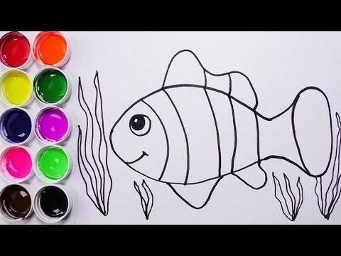 Como Dibujar y Colorear Un Pez de Colores - Dibujos Para Niños ...
