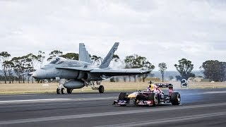 Video Red Bull F1 VS F18 Jet DRAG RACE: 380km/h (Red Bull Car) vs 2000km/h (Hornet) download MP3, 3GP, MP4, WEBM, AVI, FLV November 2019