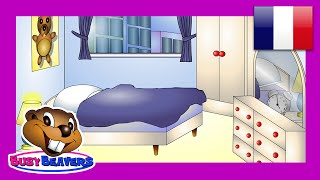 """In the Bedroom"" (French Lesson 11) CLIP - Dans la Chambre, Français Bedroom Words, Teach Kids"
