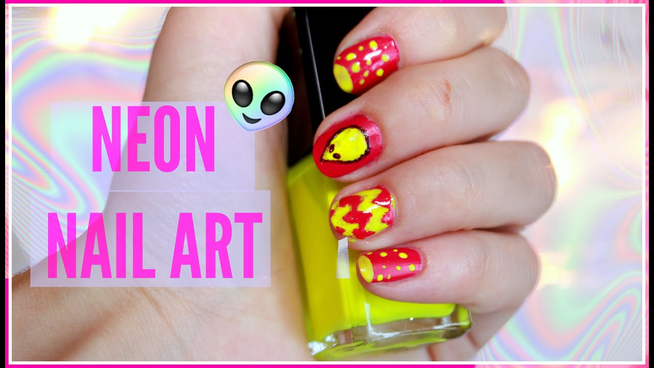 NEON NAIL ART//TUMBLR ISPIRED - YouTube