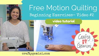 Free Motion Quilting Tutorial Series- Video #2: Beginner Exercises(This is the Video #2 in my new Free Motion Quilting Video Tutorial Series! In this video we start stitching! I talk about how to start and stop your stitches, overall ..., 2015-08-25T05:25:01.000Z)