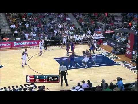 Jeffe Teague career high 24 points nice dunk and incredible block vs detroit pistons 04.06.2012