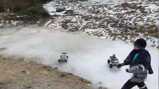 RC Fun on Ice with Traxxas Stampede, Tamiya King Black Foot & Conrad Major Buggy
