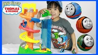 my first thomas friends rail rollers spiral station toy train for babies toddlers kids toy review