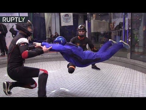 95yo adrenaline junkie: Russian granny flies in air tube