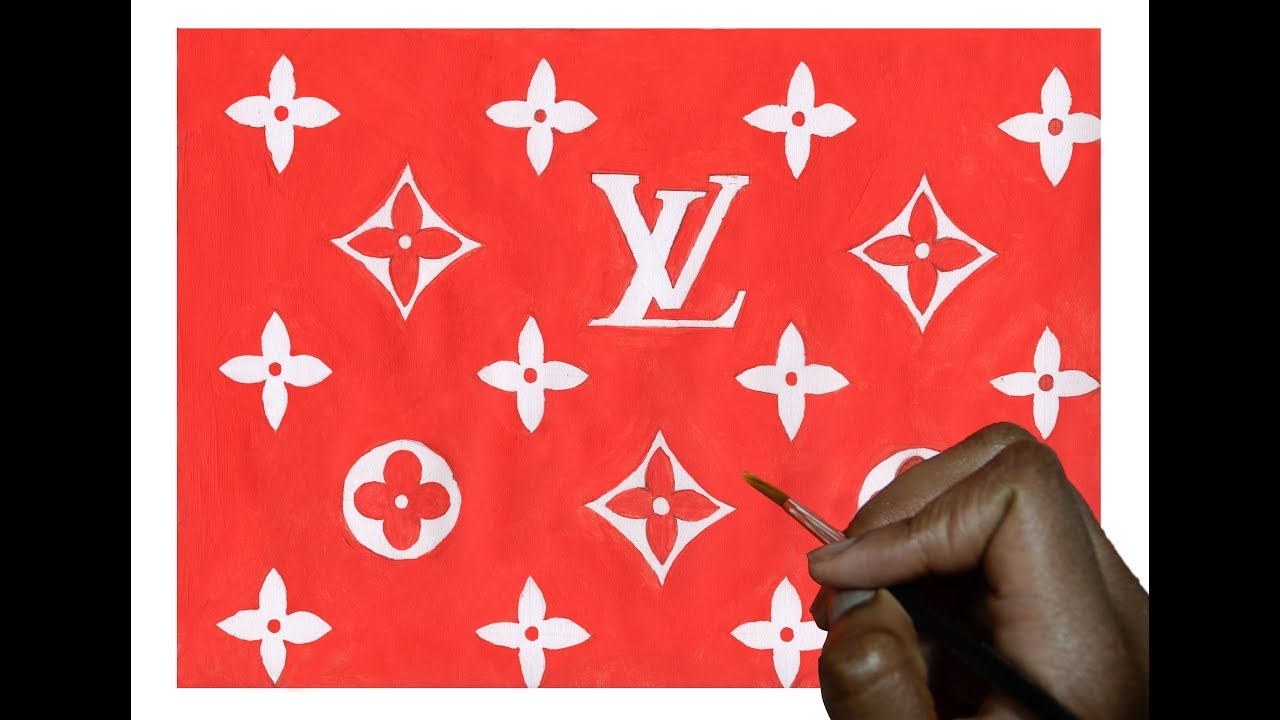 ed63f3e3cfb HOW TO DRAW LOUIS VUITTON X SUPREME ! (EXACT RED) - YouTube