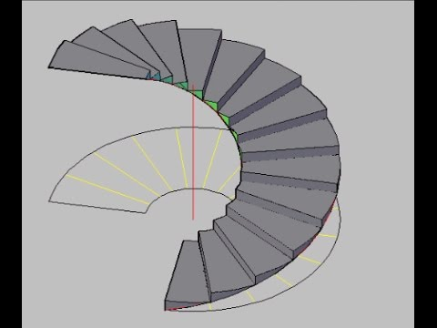 Autocad How To Create Circular Stair In Autocad Qasim Danish | Half Round Stairs Design | Half Circle Staircase | Frame | Plan | Metal | Indian Style