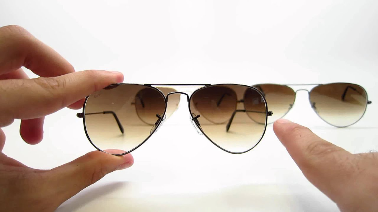 c56fcc1e7c437 Size Comparison RB 3025 Ray Ban Aviators 55mm, 58mm, 62mm Sunglasses -  YouTube